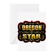 Oregon Star Gold Badge Seal Greeting Cards (Pk of
