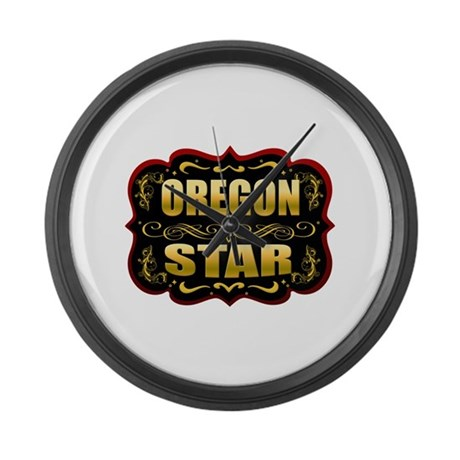 Oregon Star Gold Badge Seal Large Wall Clock