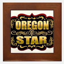 Oregon Star Gold Badge Seal Framed Tile