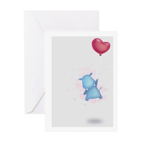 Valentines Day Lovely Hippo Card