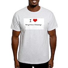 I LOVE BERGAMASCO SHEEPDOGS Ash Grey T-Shirt