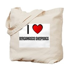 I LOVE BERGAMASCO SHEEPDOGS Tote Bag