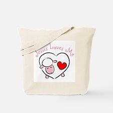 Jesus Loves Me - Pink Lamb Tote Bag