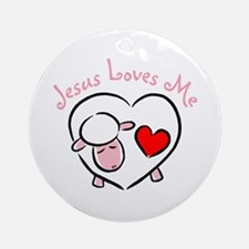 Jesus Loves Me - Pink Lamb Ornament (Round)