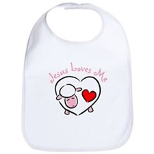 Jesus Loves Me - Pink Lamb Bib