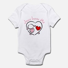 Jesus Loves Me - Pink Lamb Infant Bodysuit