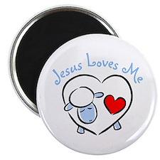 Jesus Loves Me - Blue Lamb Magnet