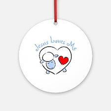 Jesus Loves Me - Blue Lamb Ornament (Round)