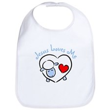 Jesus Loves Me - Blue Lamb Bib