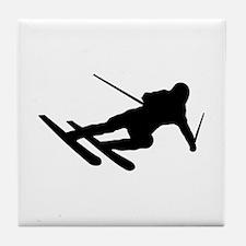 Black Downhill Ski Skiing Tile Coaster