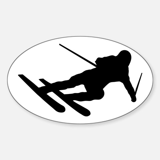 Black Downhill Ski Skiing Oval Decal