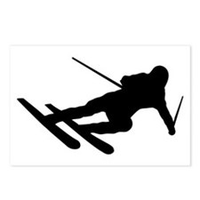 Black Downhill Ski Skiing Postcards (Package of 8)