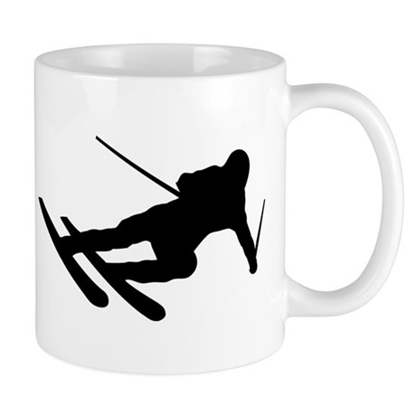 Black Downhill Ski Skiing Mug
