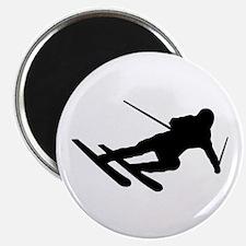 Black Downhill Ski Skiing Magnet