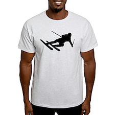 Black Downhill Ski Skiing T-Shirt