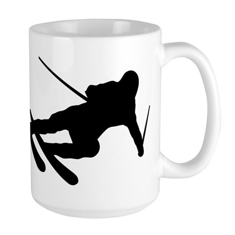 Black Downhill Ski Skiing Large Mug