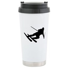 Black Downhill Ski Skiing Travel Mug