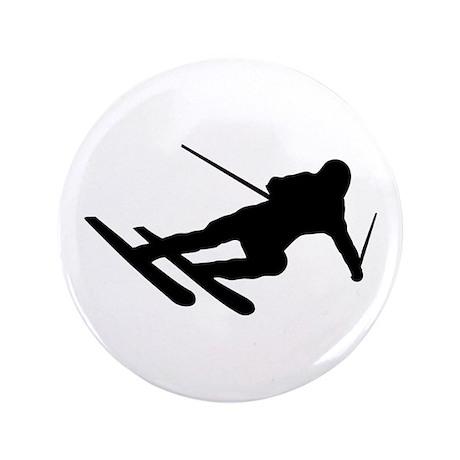 "Black Downhill Ski Skiing 3.5"" Button"