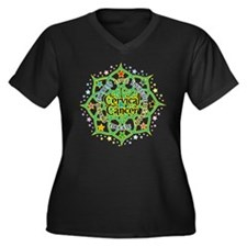 Cervical Cancer Lotus Women's Plus Size V-Neck Dar
