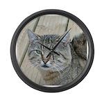 Light Tabby Cat Large Wall Clock