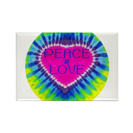 Peace & Love Rectangle Magnet (100 pack)