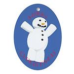 Snowman Christmas Oval Ornament