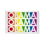 Stacked Obama Rainbow Pop Rectangle Magnet (100 pa