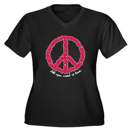 Hearts Peace Valentine Women's Plus Size V-Neck Da