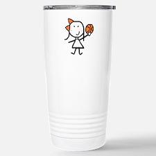 Girl & Basketball Stainless Steel Travel Mug