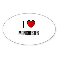 I LOVE MANCHESTER Oval Decal
