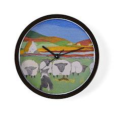 Cute Irish Sheep Scene Wall Clock