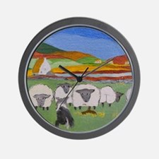 Cute Irish Sheep Scene Wall Clock