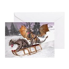 Sledding Dragons Greeting Card