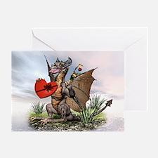 Tan Dragon Valentine Greeting Card