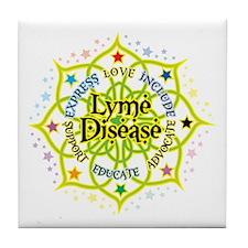 Lyme Disease Lotus Tile Coaster