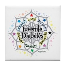 Juvenile Diabetes Lotus Tile Coaster