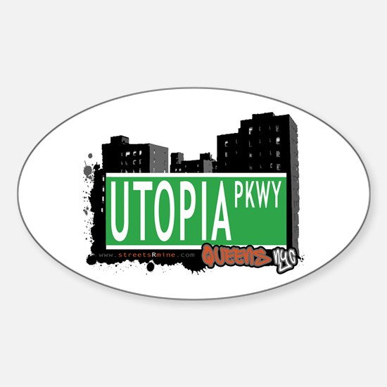 UTOPIA PARKWAY, QUEENS, NYC Oval Decal