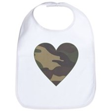 Camouflage Heart Military Valentine Bib
