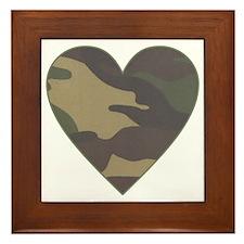 Camouflage Heart Military Valentine Framed Tile