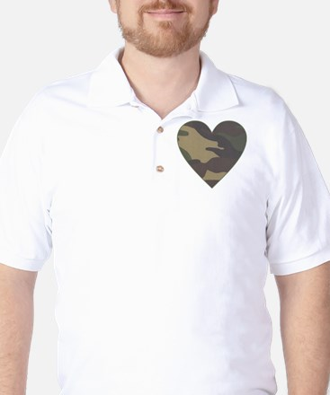 Camouflage Heart Military Valentine Golf Shirt