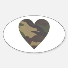 Camouflage Heart Military Valentine Oval Decal