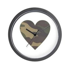 Camouflage Heart Military Valentine Wall Clock