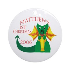 Matthew's 1st Christmas 2006 Ornament (Round)