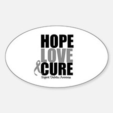 HopeLoveCure Diabetes Oval Bumper Stickers