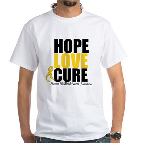 HopeLoveCure ChildhoodCancer White T-Shirt