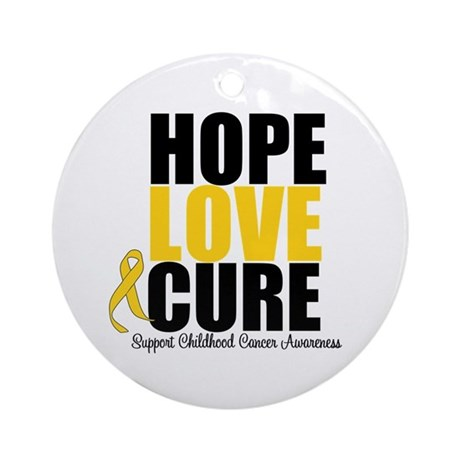 HopeLoveCure ChildhoodCancer Ornament (Round)