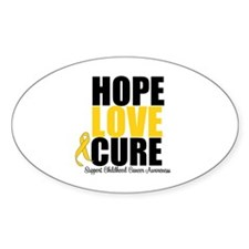 HopeLoveCure ChildhoodCancer Oval Decal