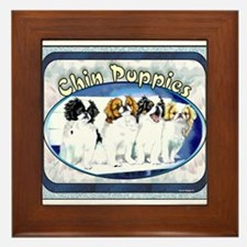 Japanese Chin Puppies Framed Tile
