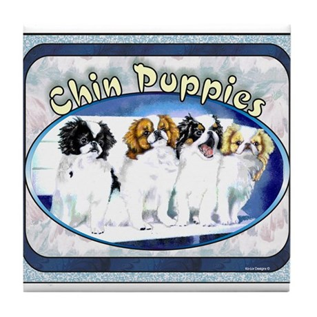 Japanese Chin Puppies Tile Coaster
