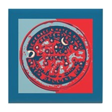 Red and Blue Water Meter Lid Tile Coaster